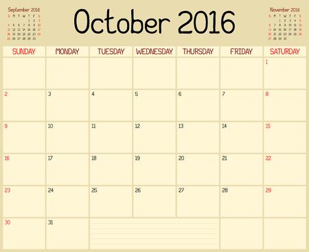 calendario octubre: Se utiliza un calendario planificador mensual de octubre de 2016. Un estilo personalizado escrito a mano - A�o 2016 octubre Planner. Vectores
