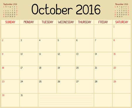 Year 2016 October Planner - A monthly planner calendar for October 2016. A custom handwritten style is used.