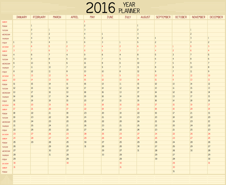 planner: Year 2016 Planner - An annual planner calendar for the year 2016. A custom handwritten style is used. Illustration