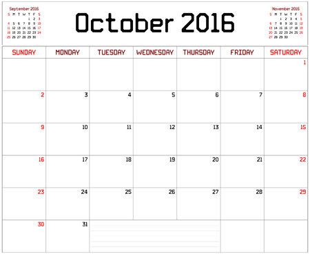 scheduler: Year 2016 October Planner - A monthly planner calendar for October 2016 on white. A custom straight lines thick font is used.