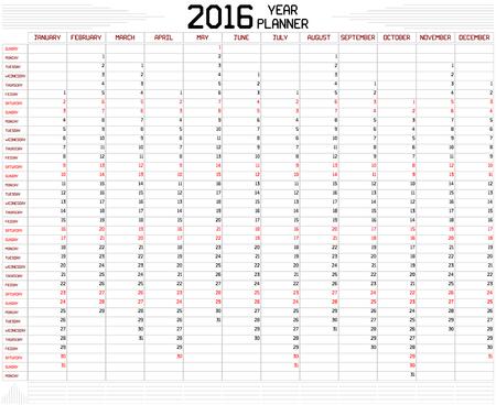 Année 2016 Planner - Un calendrier de planification annuelle pour l'année 2016 sur blanc. Une des lignes droites personnalisé police épaisse est utilisée.