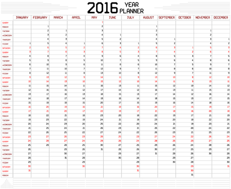 planner: Year 2016 Planner - An annual planner calendar for the year 2016 on white. A custom straight lines thick font is used.