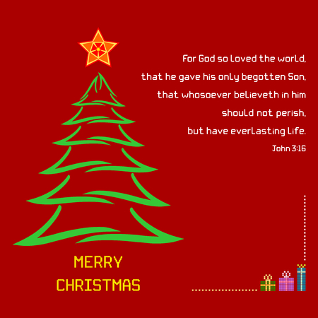 john: Christmas Holy Bible verse John 3:16 - A Christmas greeting with brush stroke tree and colorful star against a red background. Bible verse John 3:16 is displayed along with Merry Christmas message. Illustration
