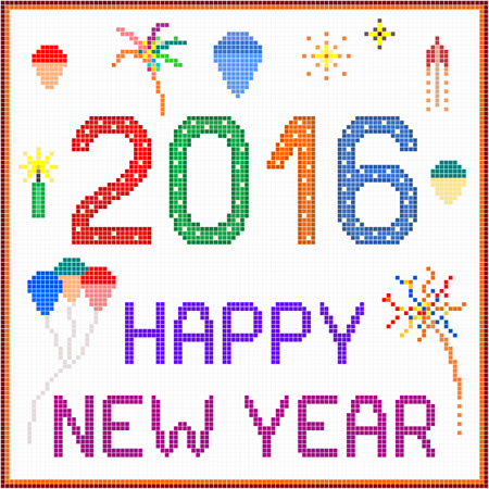 fireworks on white background: New year 2016 pixel message - 2016 New year message with balloons and fireworks. Square pixels of various colors have been used.