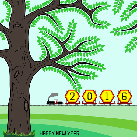 goods train: New year 2016 billboard on train - New year 2016 billboard in a retro freight train on green countryside with happy new year message. Can be used to signify end of year 2016 also.