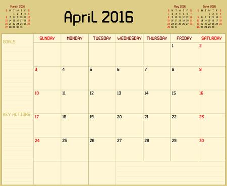 4월: Year 2016 April planner - A monthly planner calendar for April 2016 on yellow background. A custom straight lines thick font is used.
