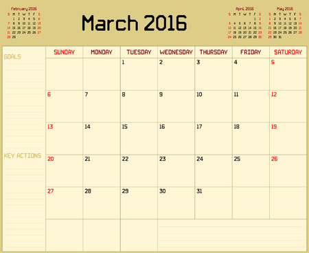 planner: Year 2016 March planner - A monthly planner calendar for March 2016 on yellow background. A custom straight lines thick font is used.