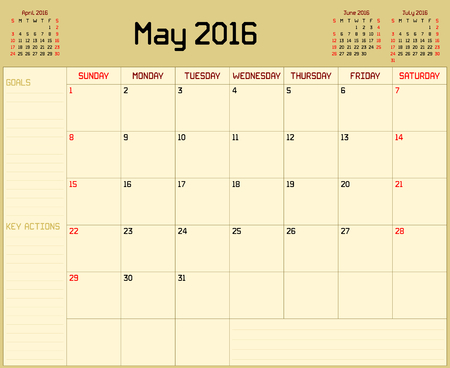 planner: Year 2016 May planner - A monthly planner calendar for May 2016 on yellow background. A custom straight lines thick font is used.