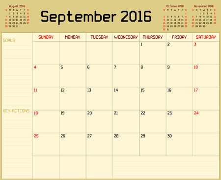planner: Year 2016 September planner - A monthly planner calendar for September 2016 on yellow background. A custom straight lines thick font is used. Illustration