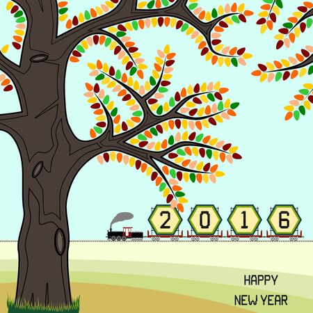 goods train: New year 2016 billboard on train in fall - New year 2016 billboard in a retro freight train on countryside with happy new year message. Fall season is portrayed. Can signify end of year 2016 also.