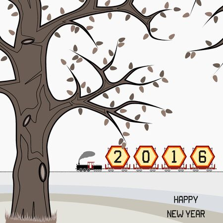 signify: New year 2016 billboard on train in winter - New year 2016 billboard in a retro freight train on countryside with happy new year message. Winter season is portrayed. Can signify end of year 2016 also.