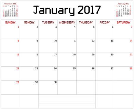 2017 Planificador de Enero - Un planificador de calendario mensual para enero de 2017, por blanco. Se utiliza una fuente personalizada líneas rectas de espesor. Ilustración de vector