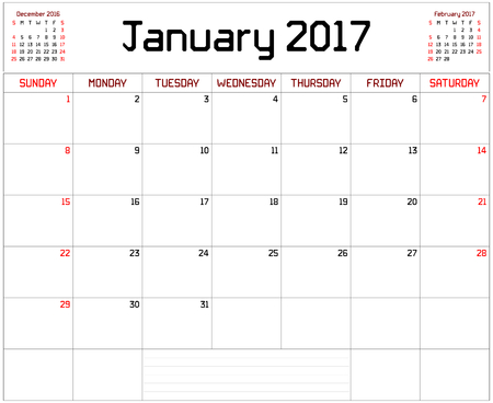 Year 2017 January Planner - A monthly planner calendar for January 2017 on white. A custom straight lines thick font is used. Illustration