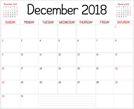 scheduler: Year 2018 December Planner
