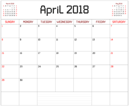 Year 2018 April Planner - A monthly planner calendar for April 2018 on white. A square pixel style is used.