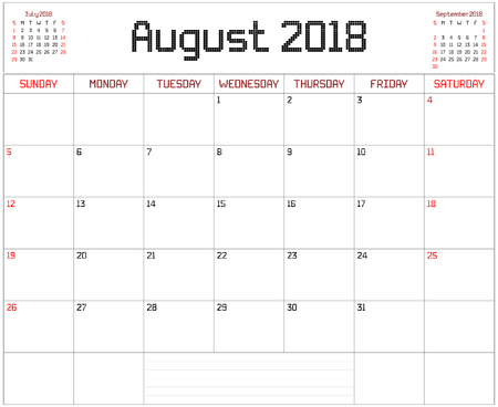 Year 2018 August Planner - A monthly planner calendar for August 2018 on white. A square pixel style is used. Illustration