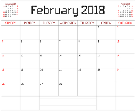 Year 2018 February Planner - A monthly planner calendar for February 2018 on white. A square pixel style is used.