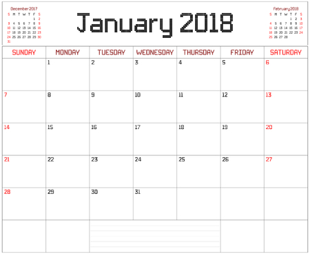 Year 2018 January Planner - A monthly planner calendar for January 2018 on white. A square pixel style is used. Illustration