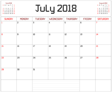 Year 2018 July Planner - A monthly planner calendar for July 2018 on white. A square pixel style is used. Illustration