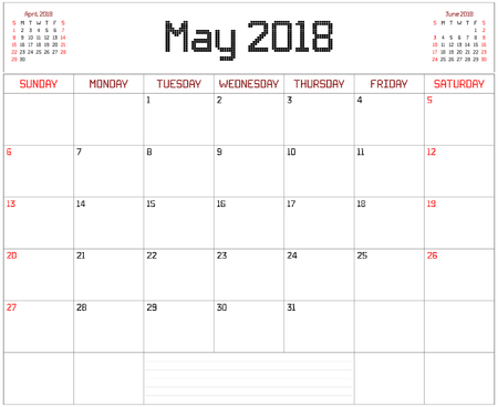 Year 2018 May Planner - A monthly planner calendar for May 2018 on white. A square pixel style is used.