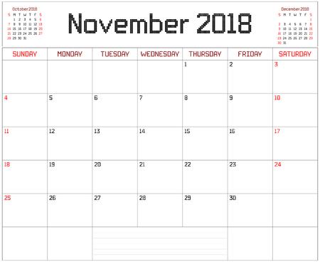 Planificador de noviembre de 2018: un calendario de planificador mensual para noviembre de 2018 en blanco. Se usa un estilo de píxeles cuadrados.