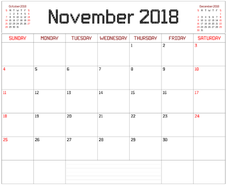 Year 2018 November Planner - A monthly planner calendar for November 2018 on white. A square pixel style is used.