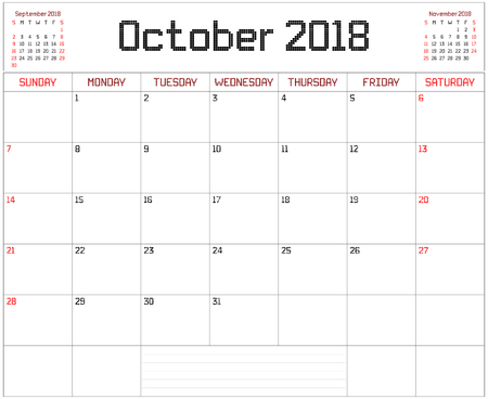 Year 2018 October Planner - A monthly planner calendar for October 2018 on white. A square pixel style is used.