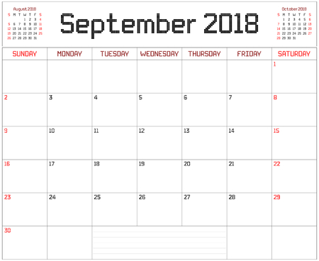 Year 2018 September Planner - A monthly planner calendar for September 2018 on white. A square pixel style is used.