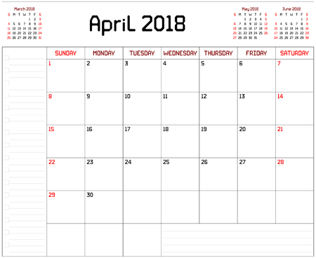 Year 2018 April Planner - A monthly planner calendar for April 2018 on white background. A custom straight lines thick font is used.