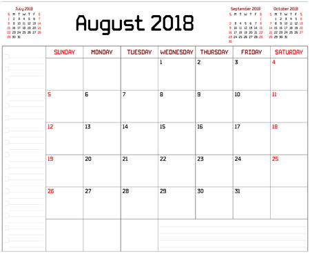 Year 2018 August Planner - A monthly planner calendar for August 2018 on white background. A custom straight lines thick font is used.