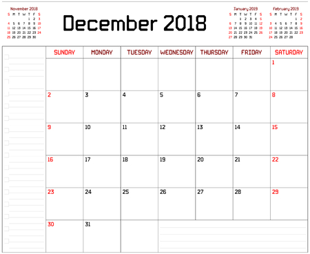 Year 2018 December Planner - A monthly planner calendar for December 2018 on white background. A custom straight lines thick font is used.