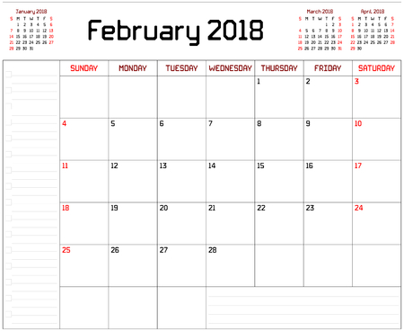Year 2018 February Planner - A monthly planner calendar for February 2018 on white background. A custom straight lines thick font is used. Illustration