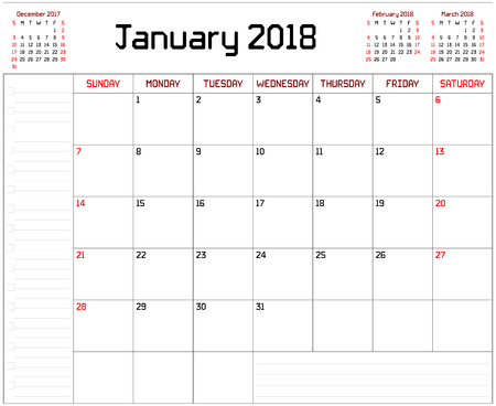 Year 2018 January Planner - A monthly planner calendar for January 2018 on white background. A custom straight lines thick font is used.