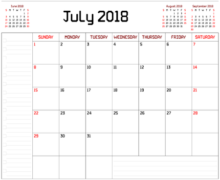 Year 2018 July Planner - A monthly planner calendar for July 2018 on white background. A custom straight lines thick font is used. Illustration