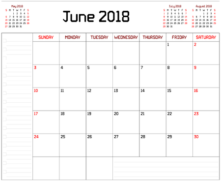 Year 2018 June Planner - A monthly planner calendar for June 2018 on white background. A custom straight lines thick font is used.