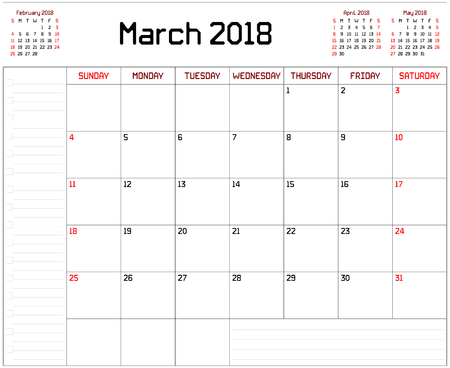 Year 2018 March Planner - A monthly planner calendar for March 2018 on white background. A custom straight lines thick font is used.