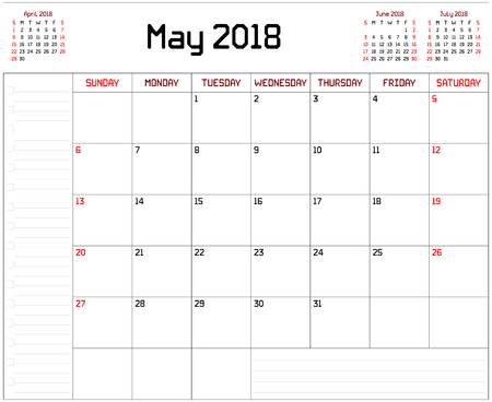 Year 2018 May Planner - A monthly planner calendar for May 2018 on white background. A custom straight lines thick font is used.