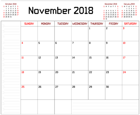 Year 2018 November Planner - A monthly planner calendar for November 2018 on white background. A custom straight lines thick font is used.