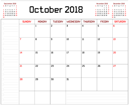 Year 2018 October Planner - A monthly planner calendar for October 2018 on white background. A custom straight lines thick font is used.