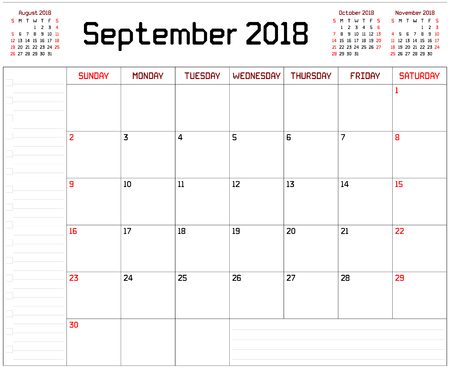 Year 2018 September Planner - A monthly planner calendar for September 2018 on white background. A custom straight lines thick font is used.