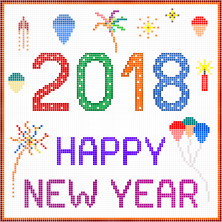 New Year 2018 Pixel Message - 2018 New year message with balloons and fireworks. Square pixels of various colors have been used.