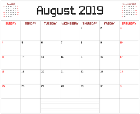 Year 2019 August Planner - A monthly planner calendar for August 2019 on white. A square pixel style is used.