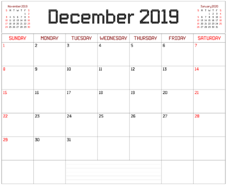 Year 2019 December Planner - A monthly planner calendar for December 2019 on white. A square pixel style is used.