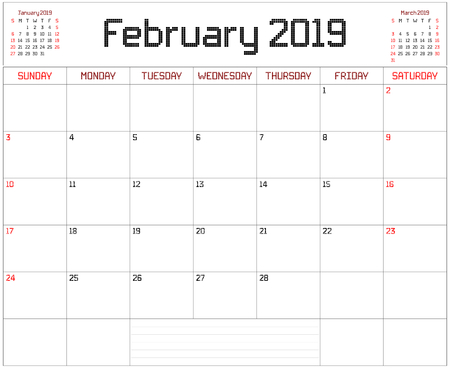 Year 2019 February Planner - A monthly planner calendar for February 2019 on white. A square pixel style is used.