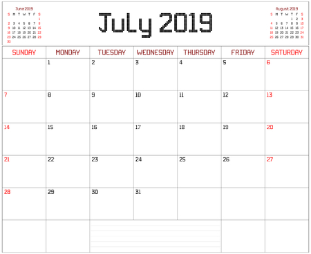 Year 2019 July Planner - A monthly planner calendar for July 2019 on white. A square pixel style is used.