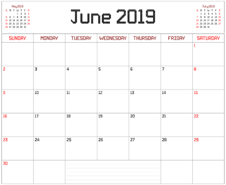 Year 2019 June Planner - A monthly planner calendar for June 2019 on white. A square pixel style is used. Illustration