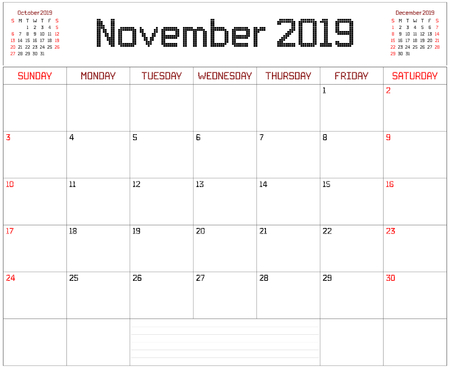 Year 2019 November Planner - A monthly planner calendar for November 2019 on white. A square pixel style is used. Illustration
