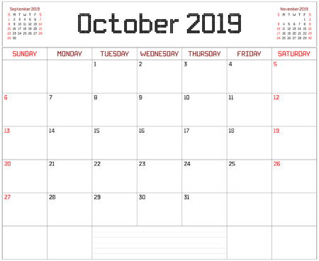 Year 2019 October Planner - A monthly planner calendar for October 2019 on white. A square pixel style is used. Illustration