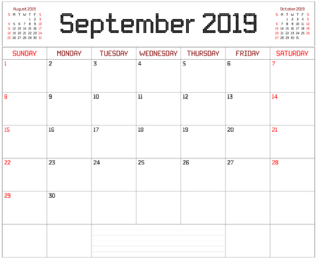 Year 2019 September Planner - A monthly planner calendar for September 2019 on white. A square pixel style is used.
