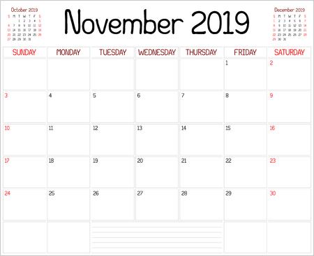 Year 2019 November Planner - A monthly planner calendar for November 2019 on white. A custom handwritten style is used.